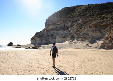 Walking on a beach of Cabo de Gata, Spain