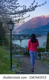 Walking on the beautiful path Sentiero Romano in Ascona, Switzerland