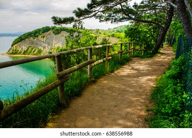 Walking on cliffs, Mesecev zaliv (Moon Bay), Strunjan, Slovenia.