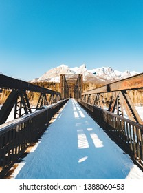 Walking on Ice Around the Old Engine Bridge in the Rockies at Canmore, Alberta, Canada