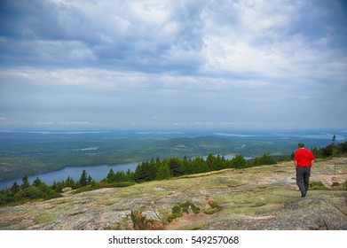 Walking on the mountain at Acadia, Maine