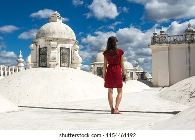 Walking on the roof of white cathedral