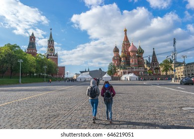 Walking on St. Basil's Descent Square in Moscow, Russia