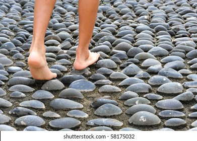 Walking On A Textured Cobble Pavement, Reflexology