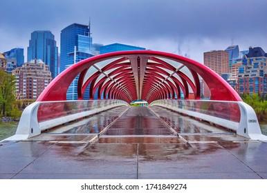 Walking on a wet Peace bridge