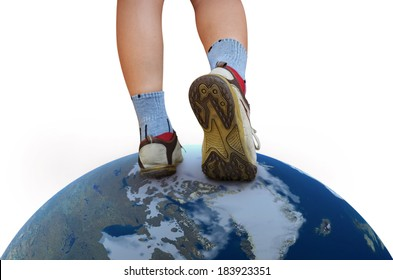 walking on the world, earth globe image provided by NASA