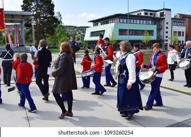 Walking parade - celebrate 17th May, national day - Kongsvinger, Norway (17th May 2018)
