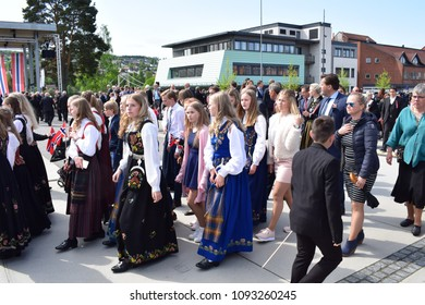 Walking parade - Girls in traditional bunad - celebrate 17 th May, national day - Kongsvinger, Norway (17th May 2018)