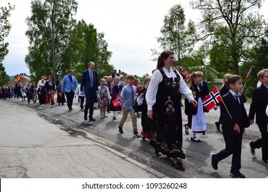 Walking parade - traditional bunad - celebrate 17th May, national day - Kongsvinger, Norway (17th May 2018)