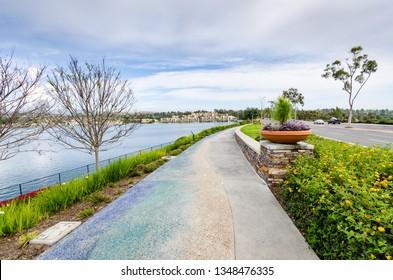 Walking path along Lake Mission Viejo in Southern California.