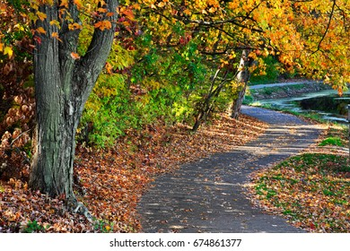 A Walking Path Along A Lake On A Sunny Day Amid The Brilliant Colors Of Autumn, Sharon Woods, Southwestern Ohio, USA
