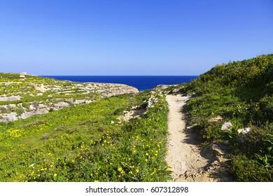 Walking path, Ghasri canyon, Gozo Malta
