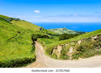 Walking path leading to the Atlantic Ocean, Azores, Portugal, Europe