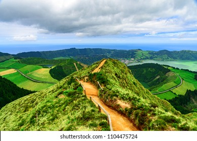 Walking path leading to a view point Boca do inferno on the lakes of Sete Cidades, Azores, Portugal