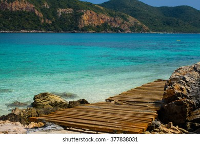 Walking Path near the beach and the mountain forest with amazing sea water and blue sky