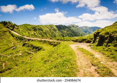 Walking path near the lakes of Sete Cidades on the island of Sao Miguel, Azores, Portugal, Europe