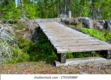 walking path with small manmade wooden bridge
