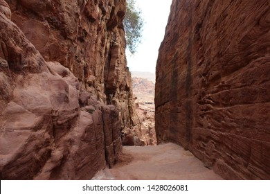 A walking path through the ruins and desert mountains of Petra, Jordan