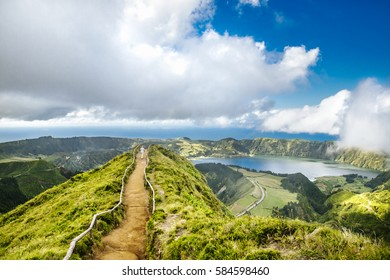 Walking path to a view on the lakes of Sete Cidades, Azores, Portugal