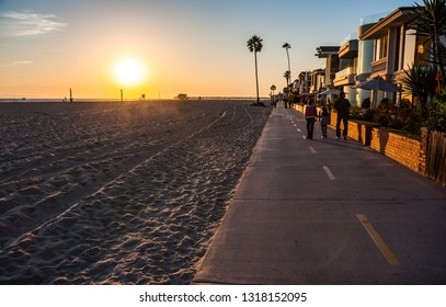 Walking pedestriam and cycle path on Newport beach in southern California