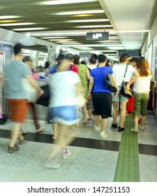 walking people in business city