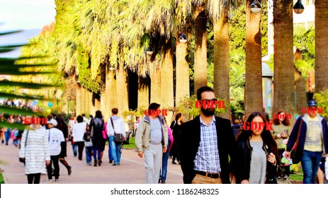 walking people on the street. GDPR - his face behind the inscription General Data Protection Regulation. Cyber security and privacy. hide the face.  ban on a photo of people on the street.