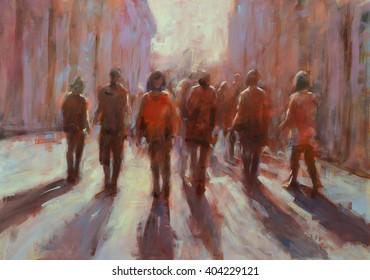 Walking peoples handmade painting