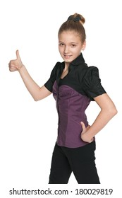 A walking preteen girl holds her thumb up on the white background
