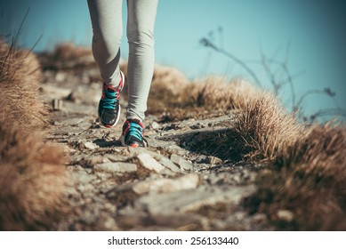 Walking or running legs on trail, adventure and exercising concept. Toned picture
