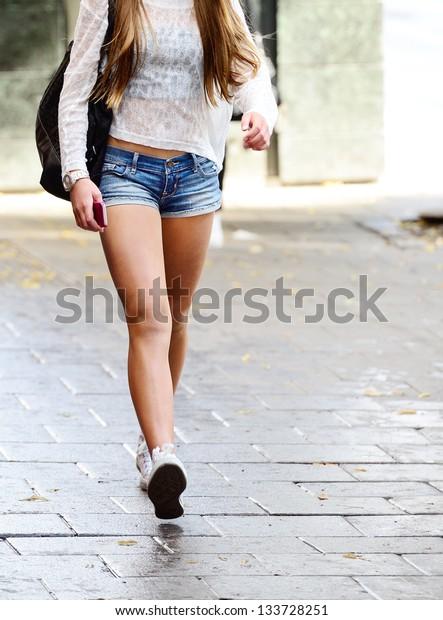 Walking shopping girl