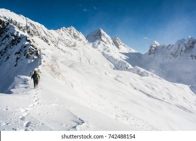 Walking in the snow of the alps