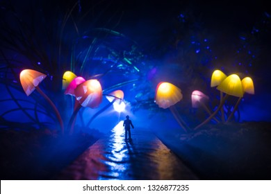 Walking through fantasy giant glowing mushroom forest. Silhouette of a man standing in the middle of the road on a misty night with giant fantasy glowing mushrooms on both sides of road.
