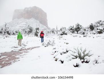 Walking Through Freshly Fallen Snow in the Desert (Sedona, Arizona)