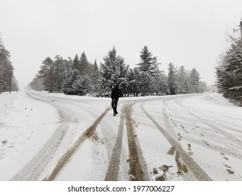 Walking through the freshly fallen snow