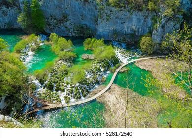 Walking through Plitvice Lake in Croatia