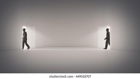 Walking through a portal - 3d illustration