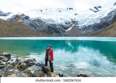 Walking through the snowy Huaytapallana, between lagoons and snowy mountains. Saturday, April 19, 2014, Huancayo Peru
