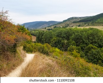 Walking track on the Camino de Santiago between Larrasoana and Trinidad de Arre - Navarre, Spain