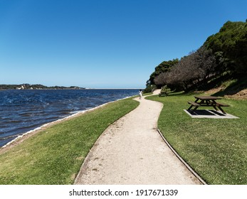 Walking track and parkland along the shoreline of Lake Tyers,  East Gippsland,  Victoria, Australia.