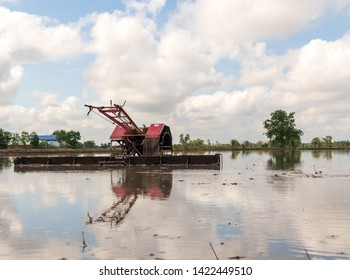 Walking Tractor on rice field for work plow farmland prepared for cultivation agricultural asian