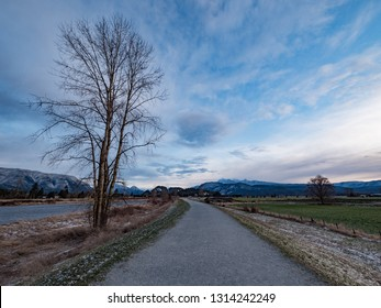 Walking trail on a cold day in Pitt Meadows, British Columbia, Canada
