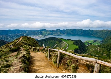 Walking trail path for viewpoint over Lake of Seven Cities, Azores, Portugal