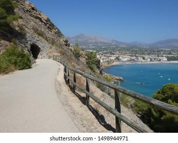 Walking trail in Serra Gelada Natural Park (El Parc Natural de la Serra Gelada), El Albir, Costa Blanca, Spain - scening view on the coast