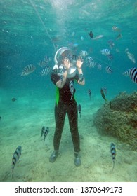 Walking underwater on seabed surrounded by school of fish