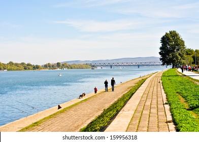 Walking zone along the riverside of Danube at 25. Maj, Belgrade