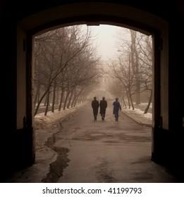 Walks on territory of military hospital