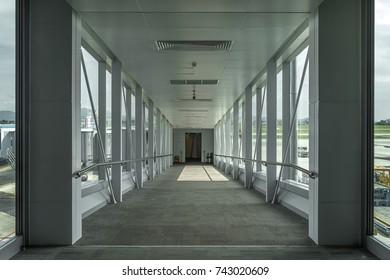 Walkway to airplane, Inside bridge that headed to plane