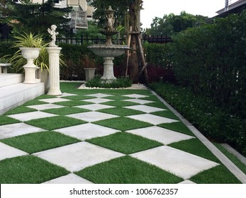 Walkway around home by artificial grass , architecture design of grass field around home, artificial grass, home outdoor decoration concept