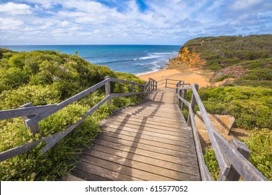 Walkway to Bells Beach of the movie Point Break, near Torquay, gateway to the Surf Coast of Victoria, Australia, here starts the Great Ocean Road. this reserve includes Bells Southside and beaches.