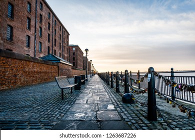 Walkway between the Royal Albert Dock and the Waterfront in Liverpool, United Kingdom